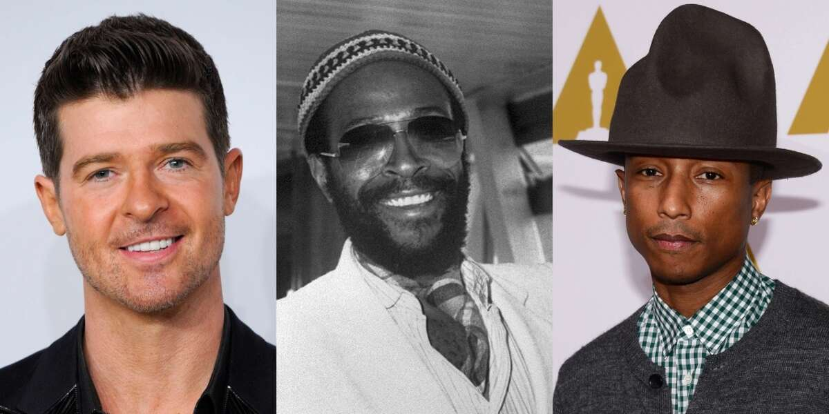 """A combination of file photos made on March 11, 2015 shows (From L) US-Canadian singer Robin Thicke posing as he arrives to attend the MTV European Music Awards (EMA) 2013 at the Ziggo Dome on November 10, 2013 in Amsterdam, US singer Marvin Gaye at London's Heathrow airport in June 1980, and US recording artist Pharrell Williams posing upon his arrival for the 86th Oscar's Nominee's Luncheon at the Beverly Hilton Hotel in Beverly Hills, California, on February 10, 2014. A US jury on March 10, 2015 ordered pop stars Robin Thicke and Pharrell Williams to pay over $7 million in damages to the family of Marvin Gaye, ruling the pair copied his music in writing their 2013 mega-hit """"Blurred Lines""""."""