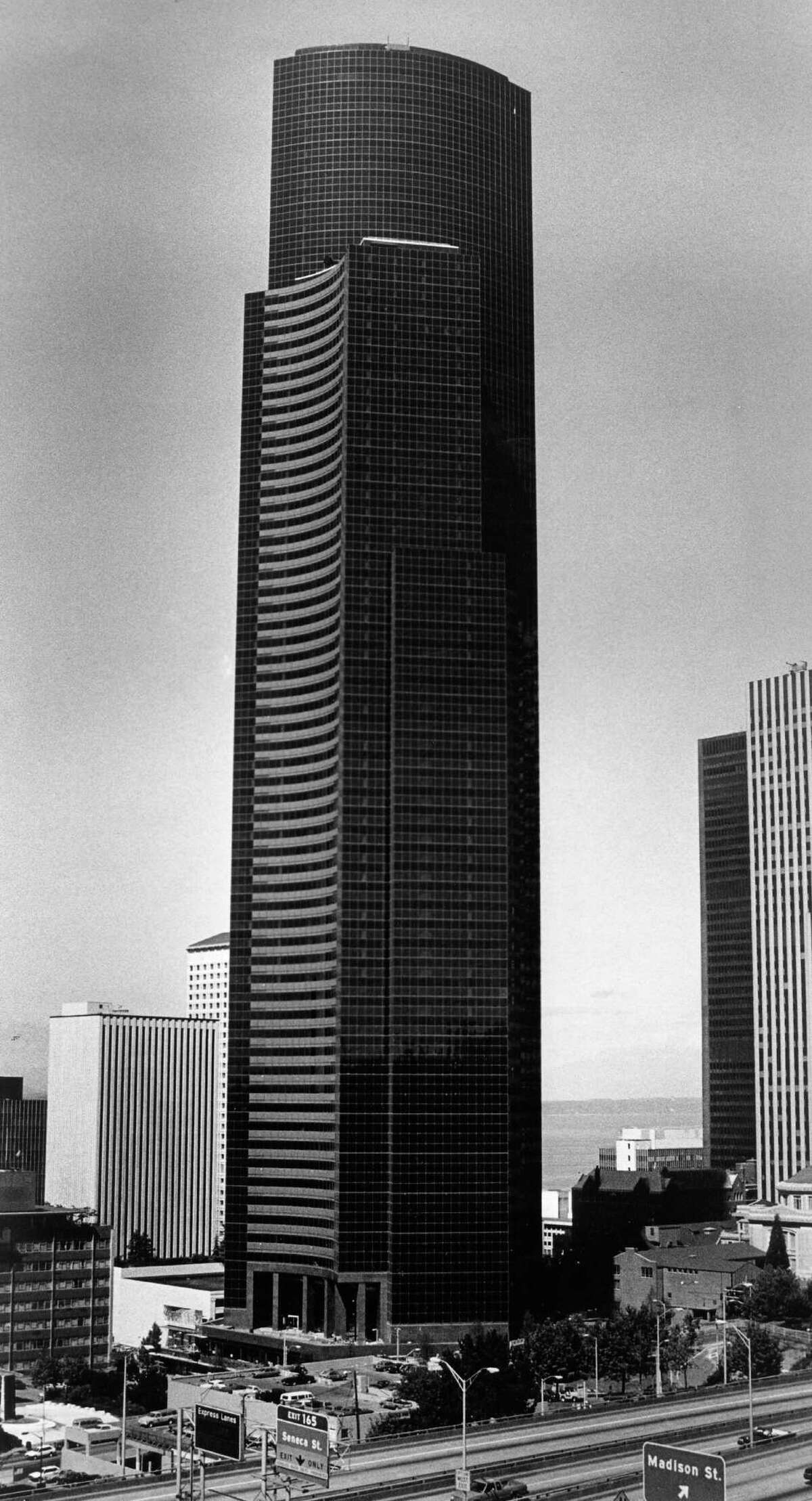 Here is a view of the 76-story Columbia Center tower, Seattle's tallest building, in 1985.