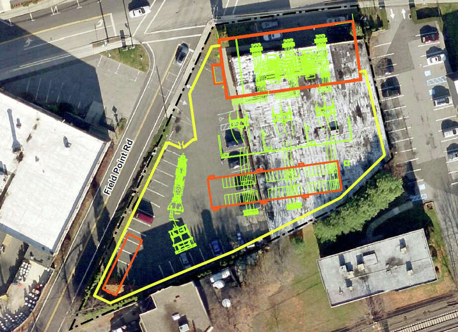 This rendering shows plans for a new substation at 290 Railroad Ave. The black line represents the property boundary; yellow marks proposed fencing; red, buildings; and green, proposed equipment layout. Photo: Contributed Photo / Greenwich Time Contributed