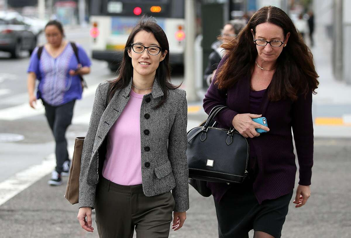 SAN FRANCISCO, CA - MARCH 11: Ellen Pao (L) leaves the Superior Court Civic Center Courthouse with her attorney Therese Lawless during a lunch break from her trial on March 11, 2015 in San Francisco, California. Pao, the interim CEO of Reddit, is suing her former employer, Silicon Valley venture capital firm Kleiner Perkins Caulfield and Byers, for $16 million alleging she was sexually harassed by male officials. (Photo by Justin Sullivan/Getty Images)