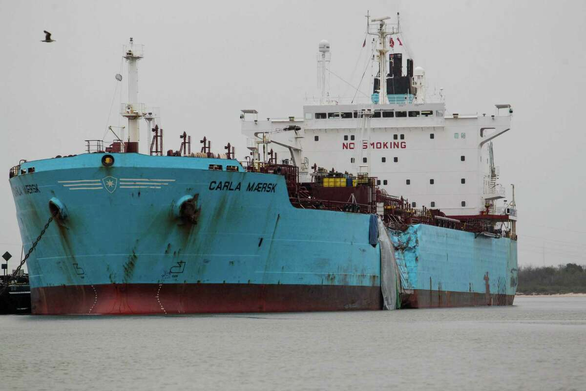 The damaged hull of the Carla Maersk, a chemical tanker, in the Houston Ship Channel onMarch 11.