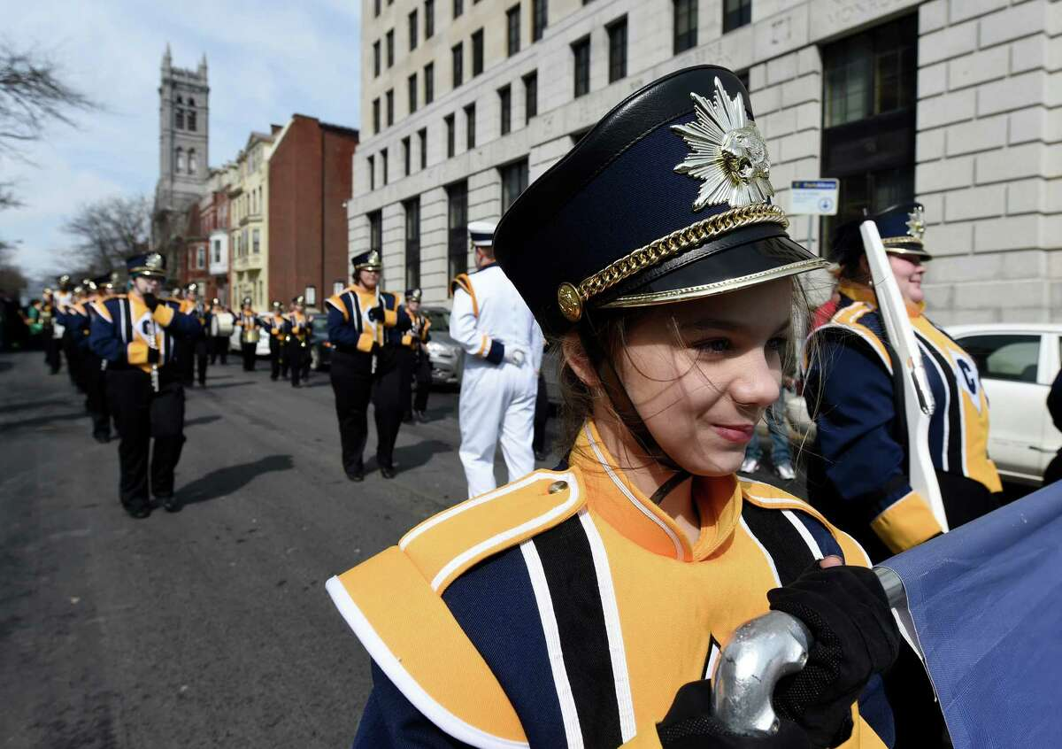 Skylar Jourdanais marches with the Cohoes School Band and joins a large group of people marching in the Parade for Public Education Wednesday afternoon, March 11, 2015, in Albany, N.Y. The demonstrators were showing their solidarity against Governor Cuomo's budget figures for public School. (Skip Dickstein/Times Union)