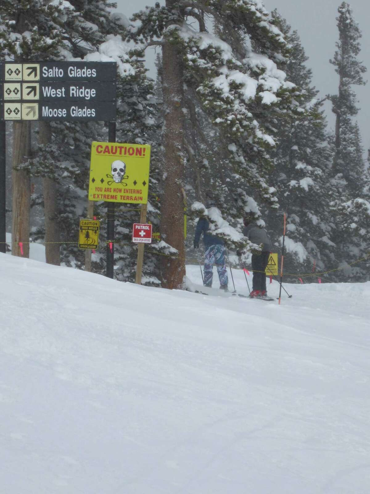 Signs mark the beginning of the extreme terrain at Eldora Mountain Resort. The Corona Bowl consists of chutes and glades that test even the best skiiers and 'boarders.