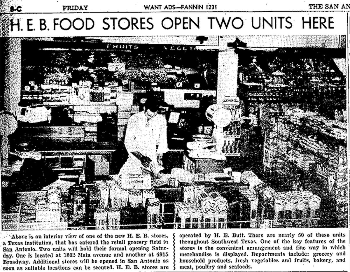 A photo that appeared in the Light on Oct. 23, 1942 shows the opening of the first H-E-B grocery store in San Antonio.