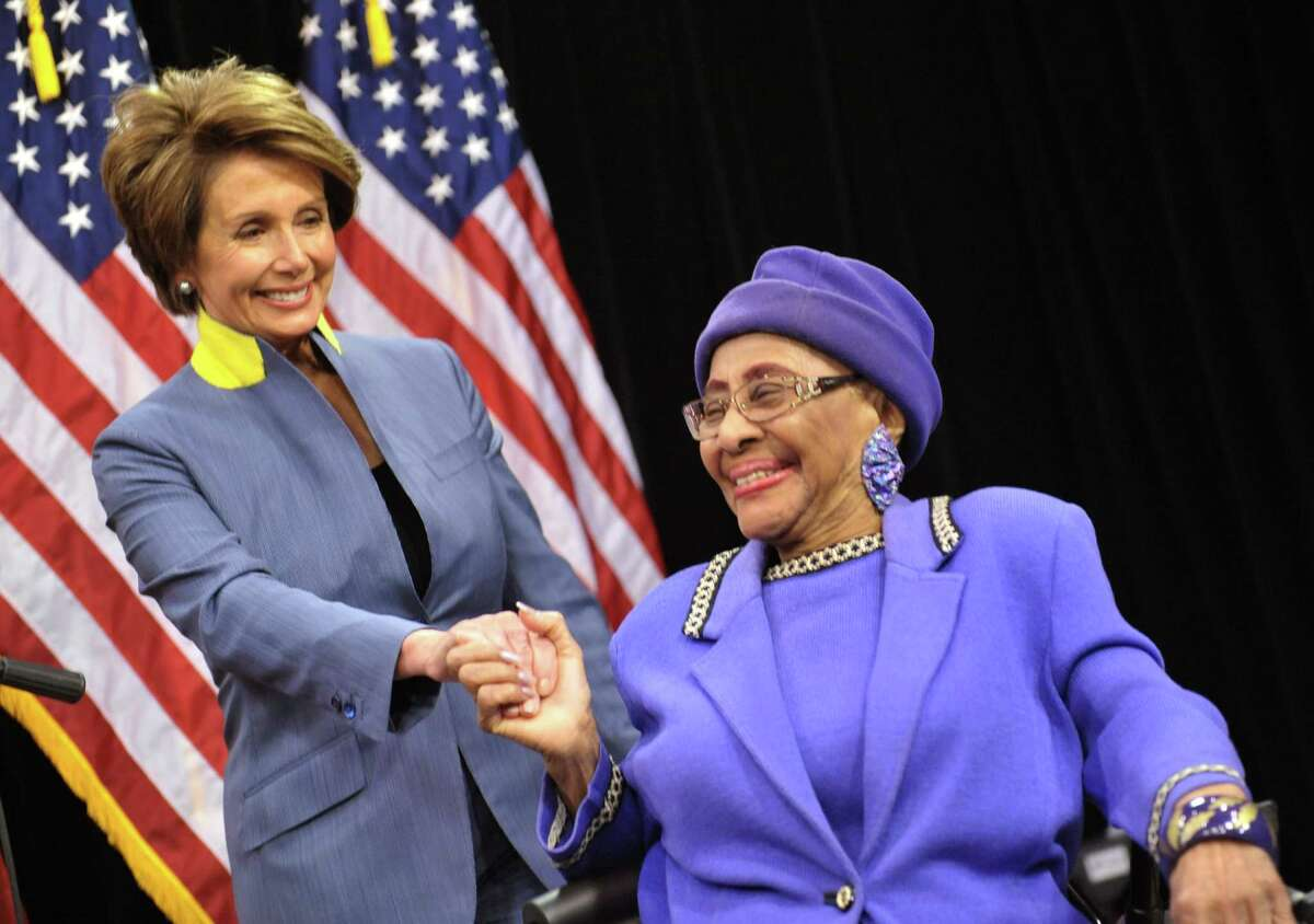 In this March 3, 2012 photo, House Democratic Leader Nancy Pelosi, left, visits with Rev. Willie T. Barrow before a press conference at Operation PUSH headquarters in Chicago. Barrow, a longtime civil right activist, died Thursday, March 12, 2015, at a hospital where she was being treated for a blood clot in her lung. She was 90. CHICAGO TRIBUNE OUT, MANDATORY CREDIT, MAGS OUT,