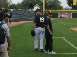Will Ferrell hangs out with Bert Campaneris at Oakland Athletics spring training on March 12, 2015.