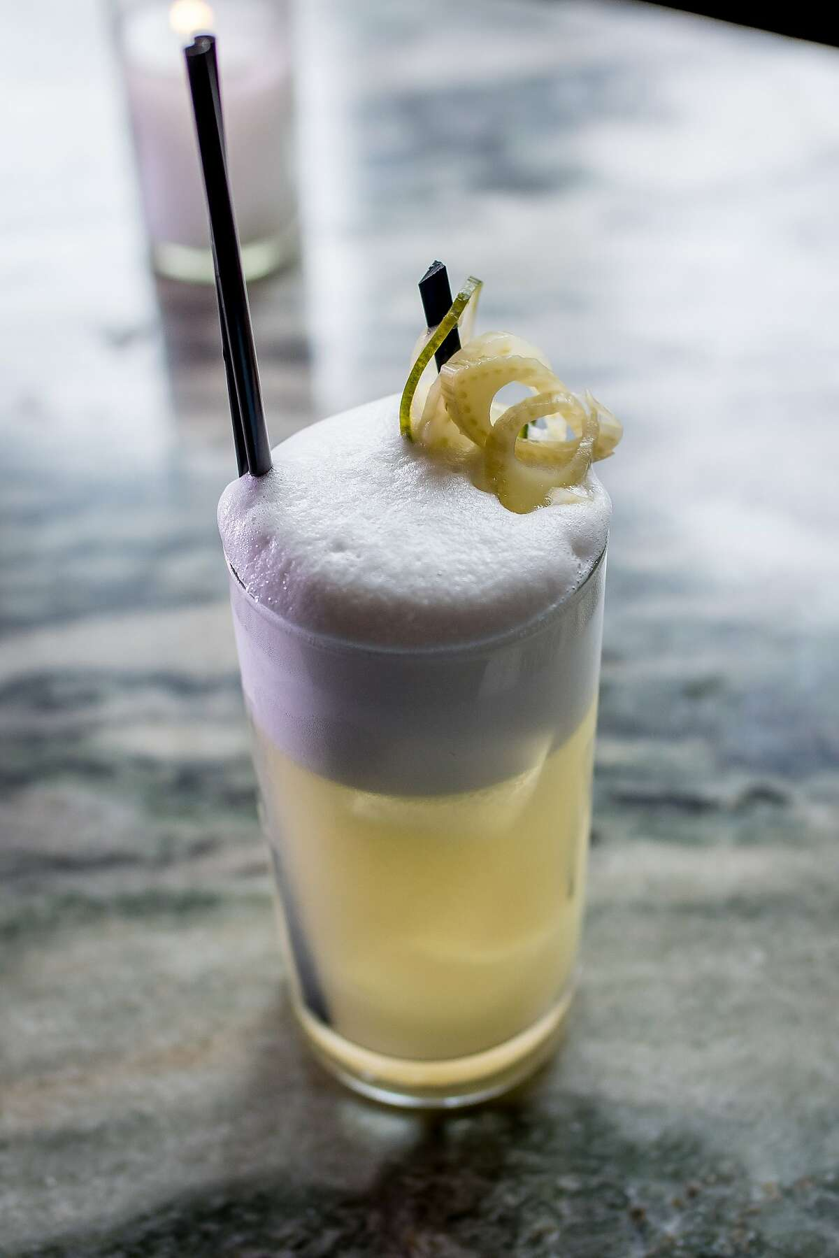 """The """"Uptown Fizz"""" cocktail at Benjamin Cooper in San Francisco, Calif. is seen on March 10th, 2015."""