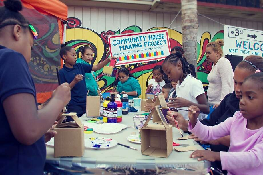 Children make art at Bayview's 3rd on Third event, which takes place Friday evening from 5 to 8 p.m., right in front of the Bayview Opera House on Third Street. Photo: Shantre Pinkney