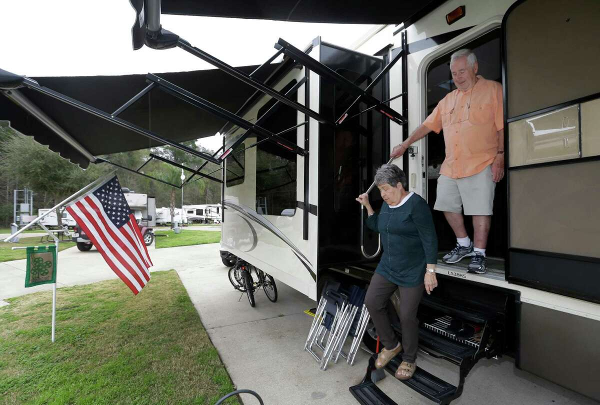 Jean Carroll and her husband, Peter Carroll, are shown at a RV park Tuesday, March 10, 2015, in Spring. They are among many people who have gone to in-network hospitals only to discover the doctors working in them might not be in-network. ( Melissa Phillip / Houston Chronicle )