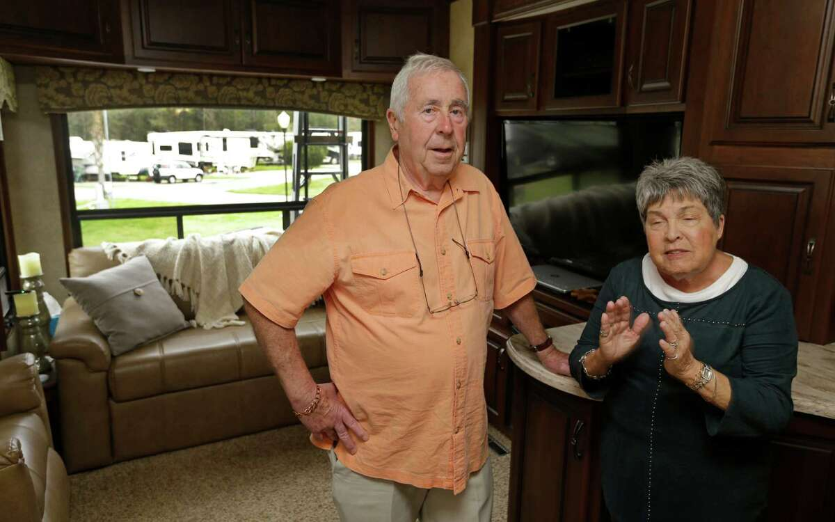 Peter Carroll and his wife, Jean Carroll, are shown at a RV park Tuesday, March 10, 2015, in Spring. They are among many people who have gone to in-network hospitals only to discover the doctors working in them might not be in-network. ( Melissa Phillip / Houston Chronicle )
