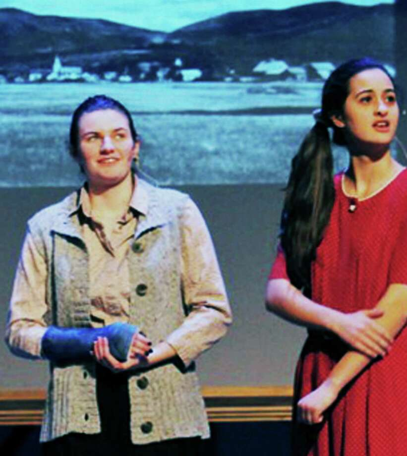 """Kelsey Johnson, left, and Brianna Miller rehearse this week for the Shepaug Valley School presentation of """"Our Town."""" March 2015  Courtesy of Martha Winkel Photo: Contributed Photo / The News-Times Contributed"""