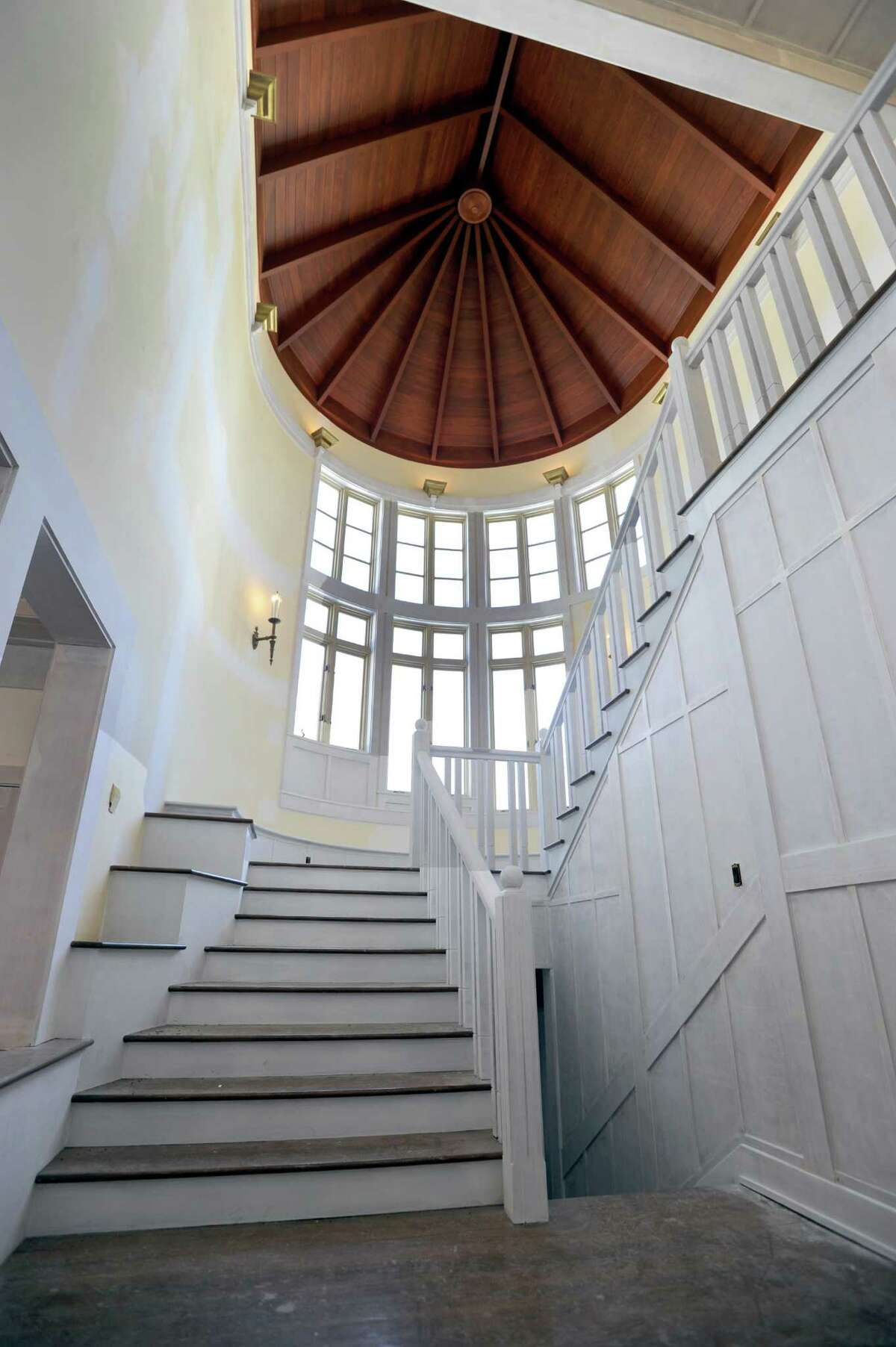 This photo shows the main staircase leading upstairs in an estate on Giles Road in Redding, Conn. which is on the market for $19,500 million. The 19,000 square foot home includes grounds with more than 300 acres and is undergoing extensive undating, Thursday, March 12, 2015.