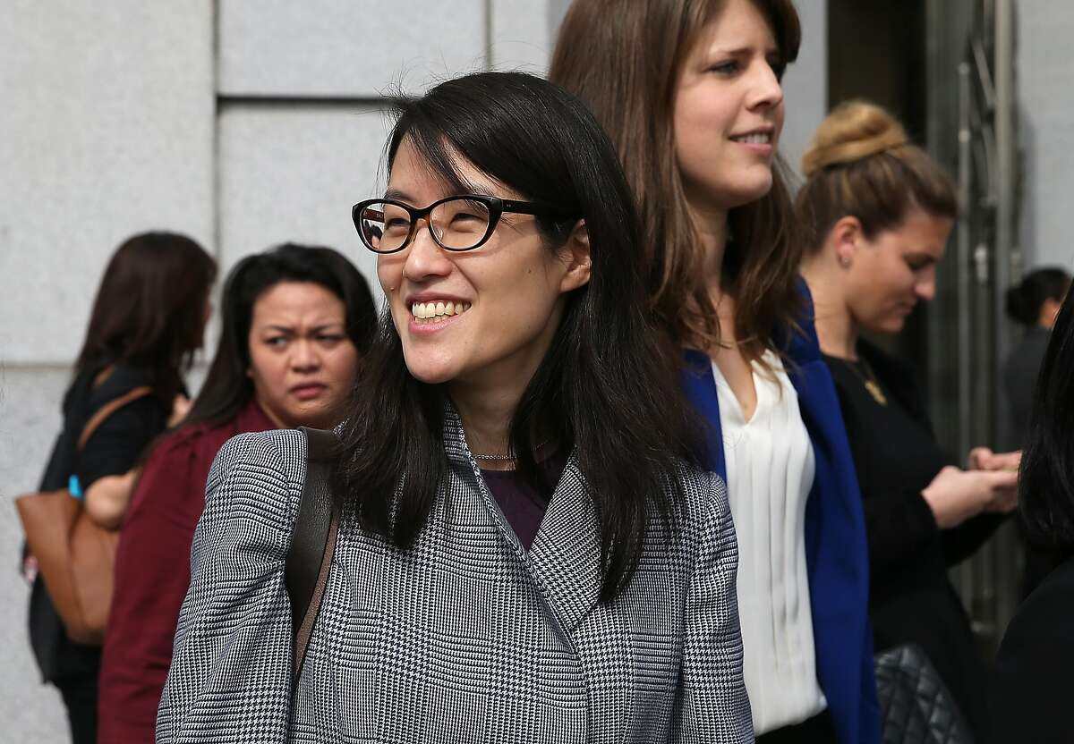 SAN FRANCISCO, CA - MARCH 10: Ellen Pao (C) leaves the California Superior Court Civic Center Courthouse during a lunch break from her trial on March 10, 2015 in San Francisco, California. Reddit interim CEO Ellen Pao is suing her former employer, Silicon Valley venture capital firm Kleiner Perkins Caulfield and Byers, for $16 million alleging she was sexually harassed by male officials. (Photo by Justin Sullivan/Getty Images)