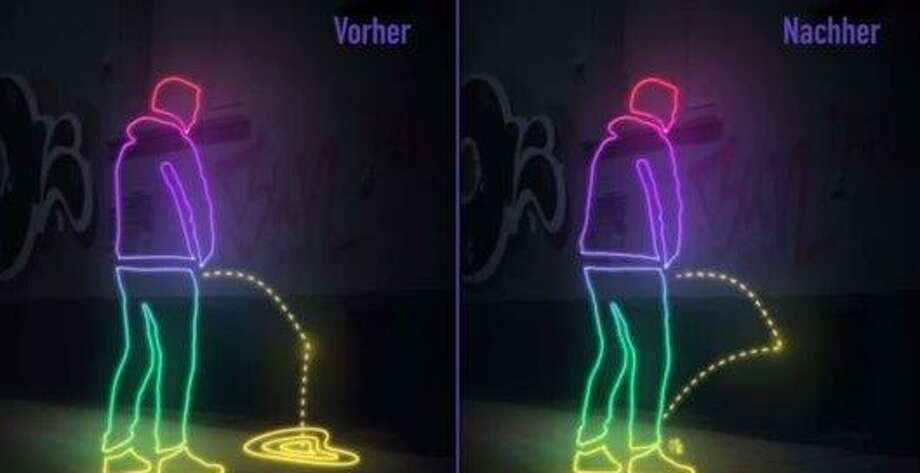 An example of the hydro-phobic pee-repellent paint that is currently being used in Hamburg, Germany. Photo: St. Pauli Pinklet Zurück, Courtesy