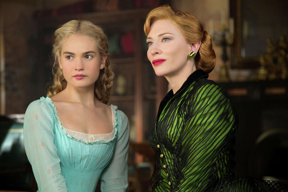 (L-r) Lily James is Cinderella and Cate Blanchett is her evil stepmother in Disney's live-action feature ?