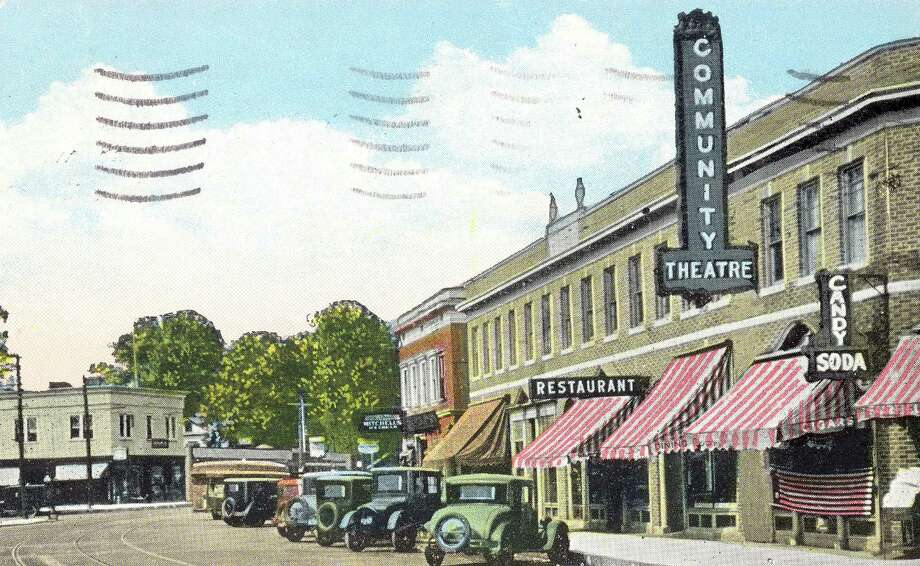 An early view of the Community Theatre was captured in this postcard. Photo: Fairfield Museum And History, Fairfield Museum And History Cen / Fairfield Citizen