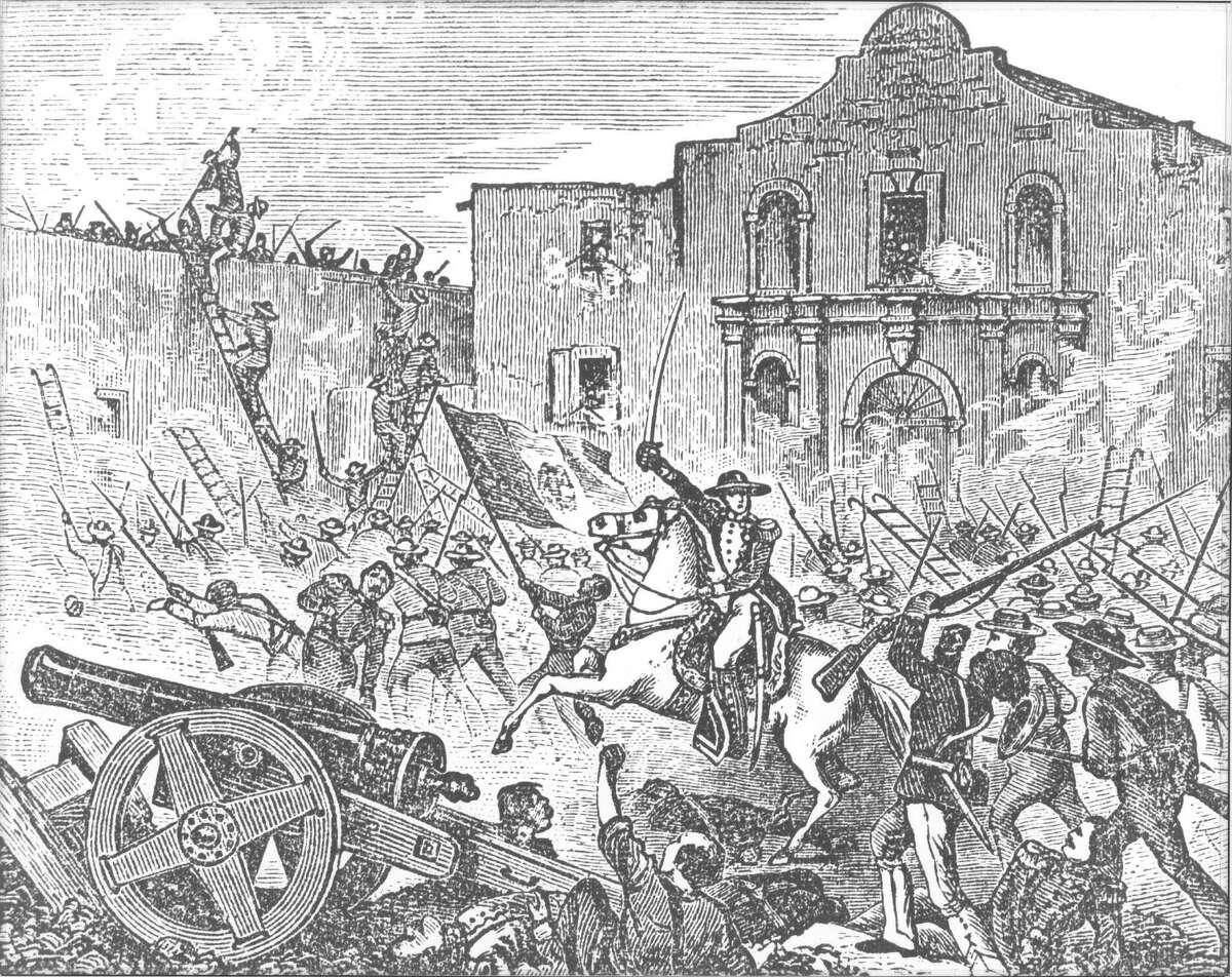"""Engraving of the storming of the Alamo. Copied from Baker, D.W.C.; """"A Texas Scrapbook."""" New York, A.S. Barnes and Company, 1875, facing p. 109."""