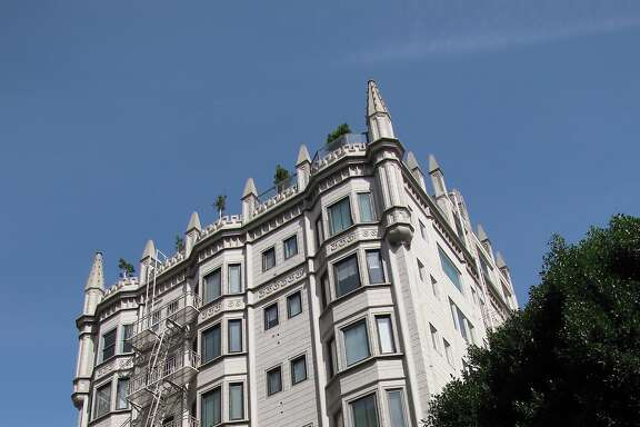 Chateau Bohlig, at the southeast corner of Pine and Powell streets, is easy to miss -- until you catch sight of its flamboyant Gothic crown.
