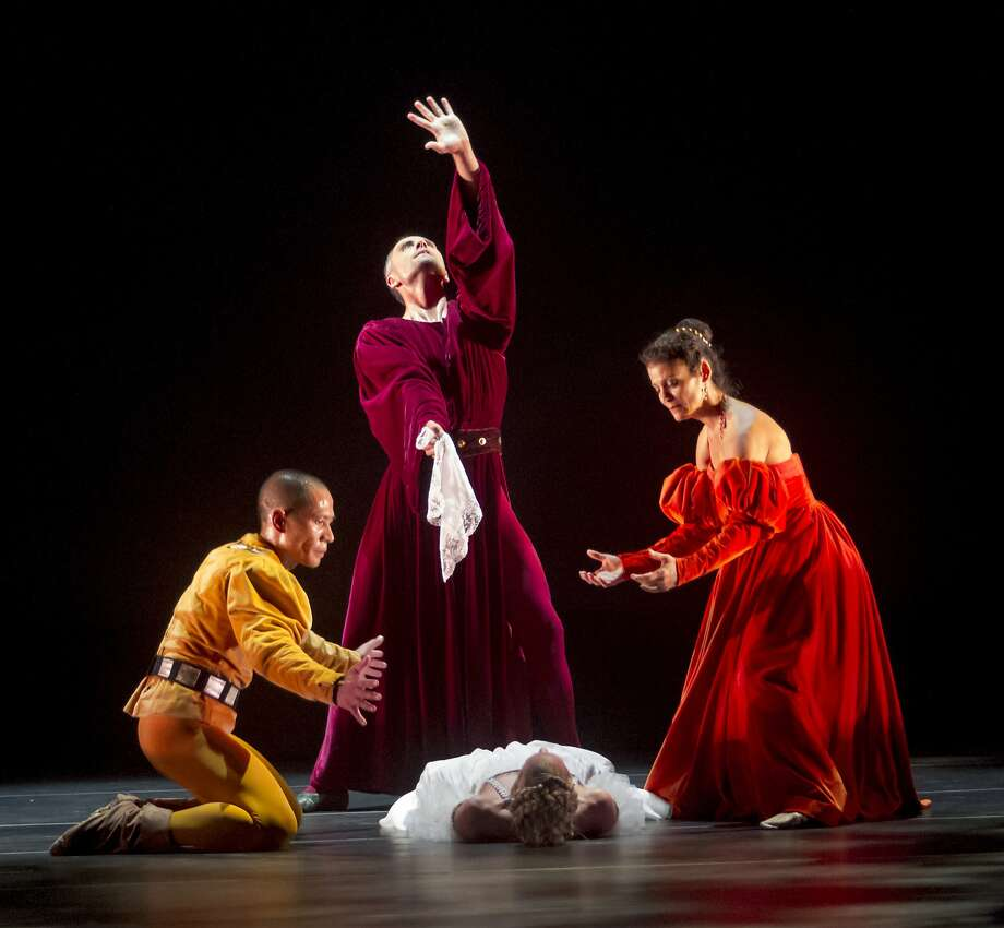 "Robert Regala (left), Raphaël Boumaila, Maria Basile and Heather Cooper perform in SJDanceCo's presentation of José Limón's classic 1949 ""The Moor's Pavane."" Photo:  Bob Shomler"