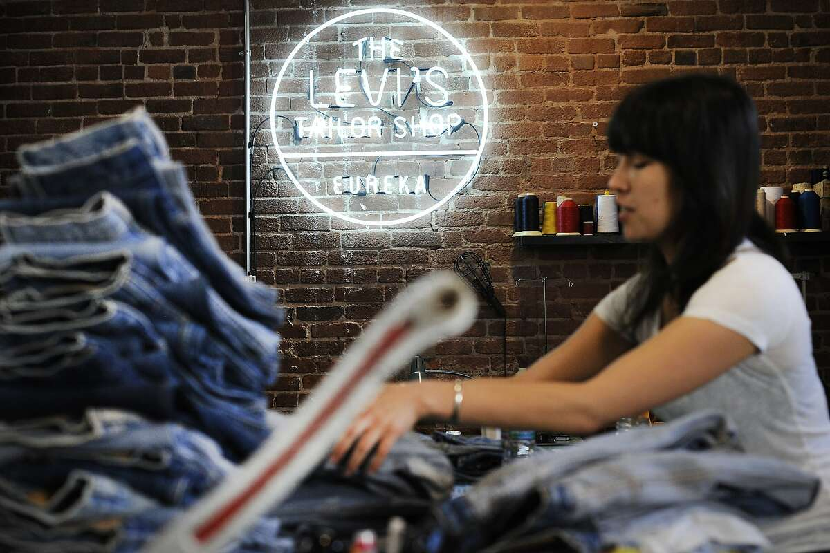 Master tailor Laura Sato works with vintage jeans in the Taylor Shop at Levi Strauss's Eureka Innovation Lab in San Francisco, CA, on Friday, March 6, 2015. Michael Kobori is spearheading a drive for the apparel maker to generate 100 percent of its annual revenue from products that leave no impact on the environment.