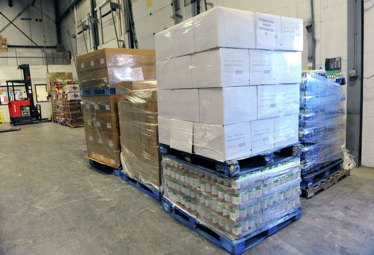 Pallets of food are seen at the Regional Food Bank of Northeastern New York after Hannaford Supermarkets delivered 731 cases of food to the food bank on Thursday, March 12, 2015 in Latham, N.Y. (Lori Van Buren / Times Union)