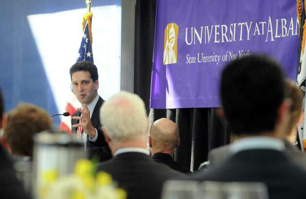 Benjamin M. Lawsky, Superintendent of Financial Services for the State of New York, delivers the University at Albany's inaugural Massry Lecture at the Business Building of UAlbany on Thursday March 12, 2015 in Albany, N.Y. (Michael P. Farrell/Times Union) Photo: Michael P. Farrell / 00030991A