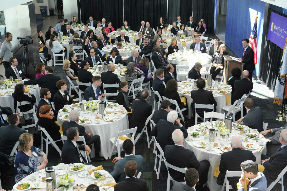 Benjamin M. Lawsky, Superintendent of Financial Services for the State of New York, delivers the University at Albany?'s inaugural Massry Lecture at the Business Building of UAlbany on Thursday March 12, 2015 in Albany, N.Y. (Michael P. Farrell/Times Union)