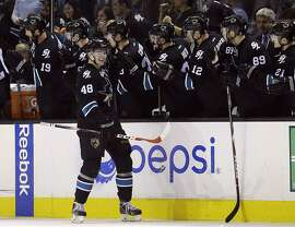 San Jose Sharks' Tomas Hertl (48) celebrates his goal with teammates on the bench during the second period of an NHL hockey game against the Nashville Predators Thursday, March 12, 2015, in San Jose, Calif. (AP Photo/Marcio Jose Sanchez)