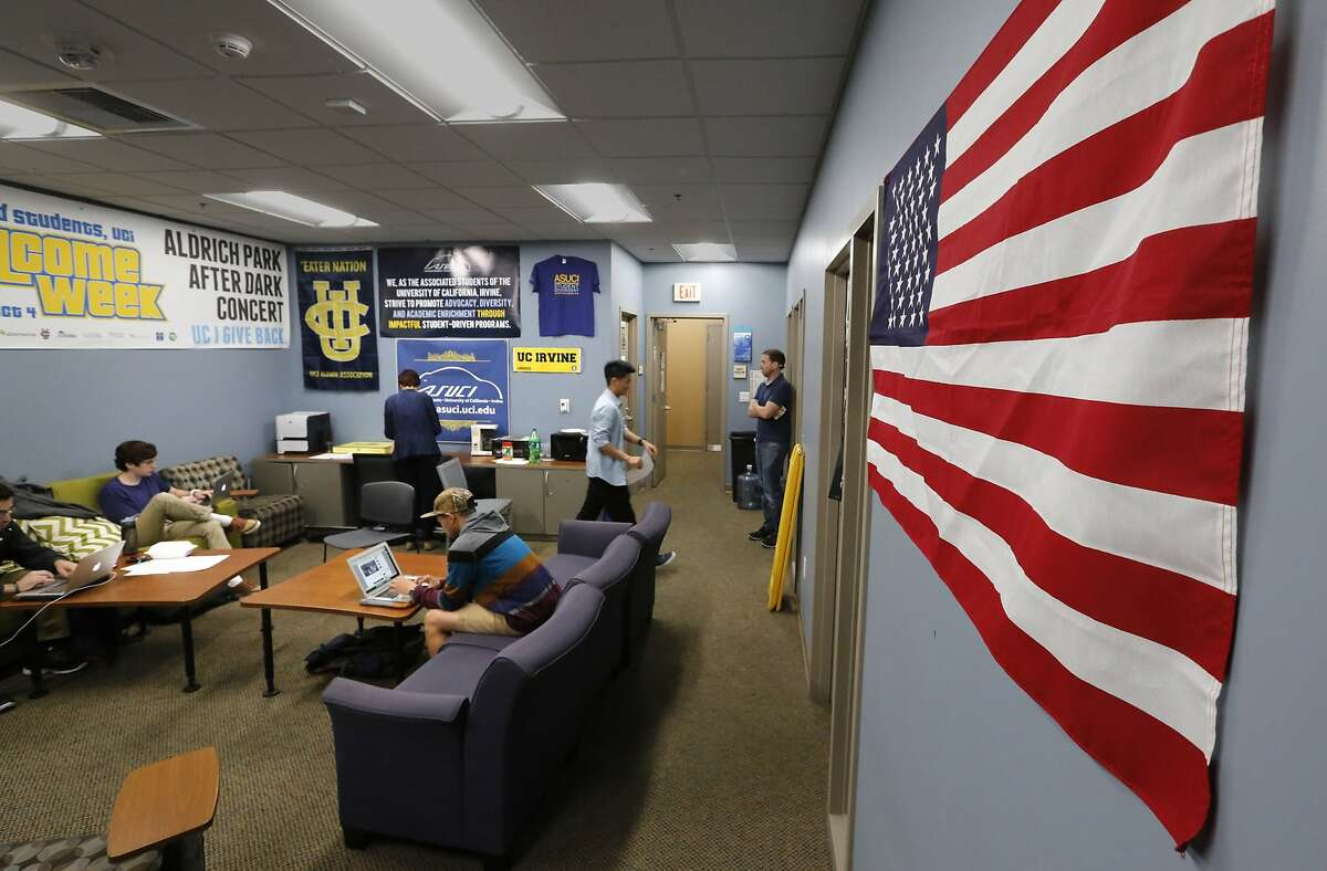 The American flag has been rehung on the wall of the UC Irvine student government center on March 10, 2015, days after a student government decision to ban all flags from this office set off a firestorm of protests from students and the public. (Don Bartletti/Los Angeles Times/TNS)