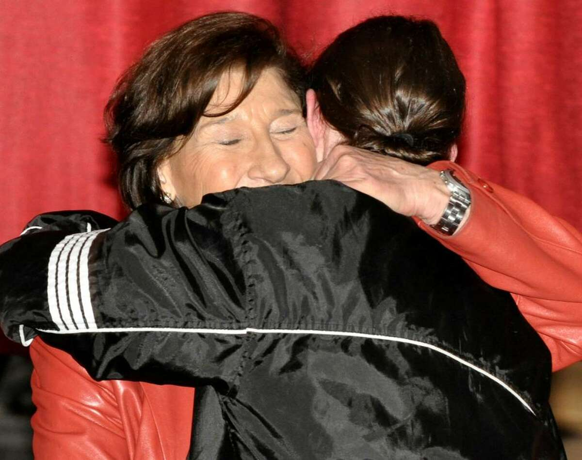 """Holocaust survivor, Anita Schorr thanks Platt Tech student Nazz Belbusti, of West Haven, after his reading of the poem """"First They Came"""" by Pastor Martin Niemoller during an assembly for 11th grade history students at Platt Tech on Friday, March 5, 2010."""