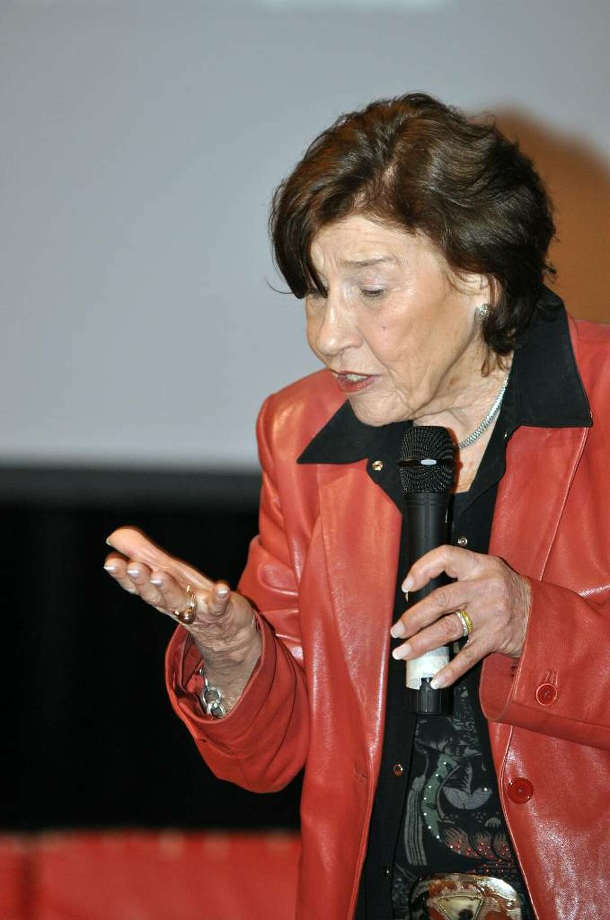 Holocaust survivor, Anita Schorr, recalls the day her family arrived at the concentration camp by way of cattle cars and were then divided into two groups. Schorr's mother, Stella, fearful that they would be separated, gripped Schorr's hand so tightly that bloody fingernail marks were left on the palm of her hand.