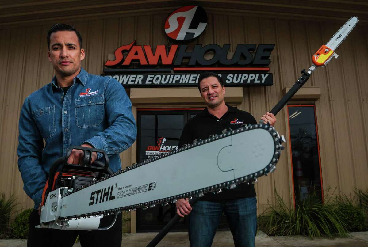 Brothers Hector, left, and Jose Cantu sell chain saws, lawn mowers, tree trimmers and other equipment from their standalone shop, SawHouse.