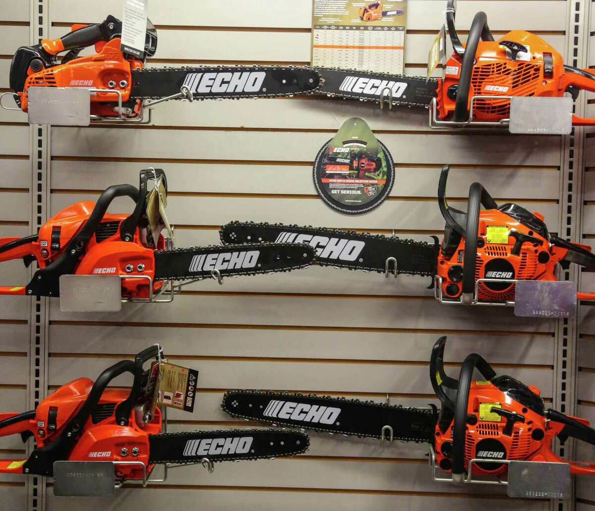 Chainsaws for sale at Saw House Tuesday March 10, 2015. The Cantu's started Saw House a power equipment supply company which sells saws and other tree maintenance equipment. (Billy Smith II / Houston Chronicle)