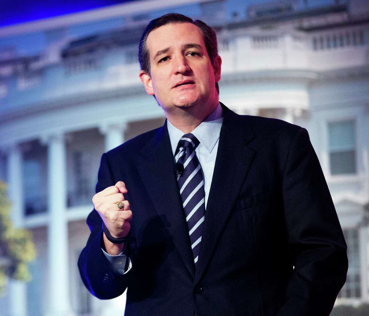 In this March 10, 2015, photo, Sen. Ted Cruz, R-Texas, speaks at the International Association of Firefighters (IAFF) Legislative Conference and Presidential Forum in Washington. A pair of lawyers who have represented presidents from both parties at the Supreme Court says Cruz is legally eligible to run for president. Solicitor General Paul Clement and former Obama acting Solicitor General Neal Katyal are writing in the Harvard Law Review that the Canadian-born Cruz meets the constitutional standard to be a presidential contender. The bipartisan duo's commentary comes as Cruz moves toward an expected White House run.
