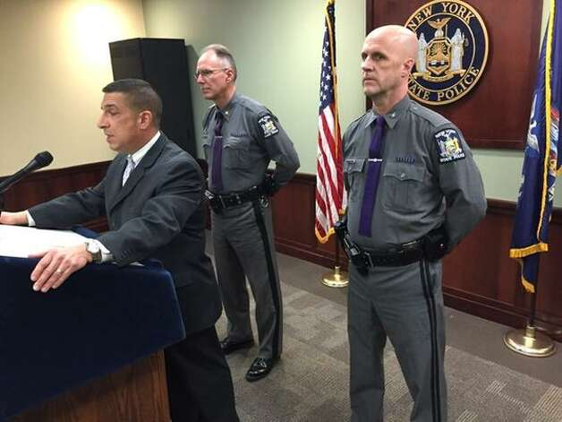 State Police Superintendent Joseph A. D'Amico discusses the death of Trooper Donald R. Fredenburg, 23, who collapsed during a 6:30 a.m. training run at the Univesity at Albany campus which borders the State Police Academy at the W. Averell Harriman State Office Building Campus. (Cindy Schultz / Times Union)