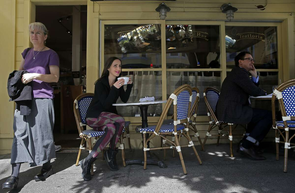 Shannon Rowbury, enjoys a latte at Rose's Cafe along Union St. in San Francisco, Calif., on Thurs. March 12,2015. An international track and field star, national champion this year in mile and two mile, two time Olympian, bronze medal in last year's world championships and also a lifelong San Franciscan.