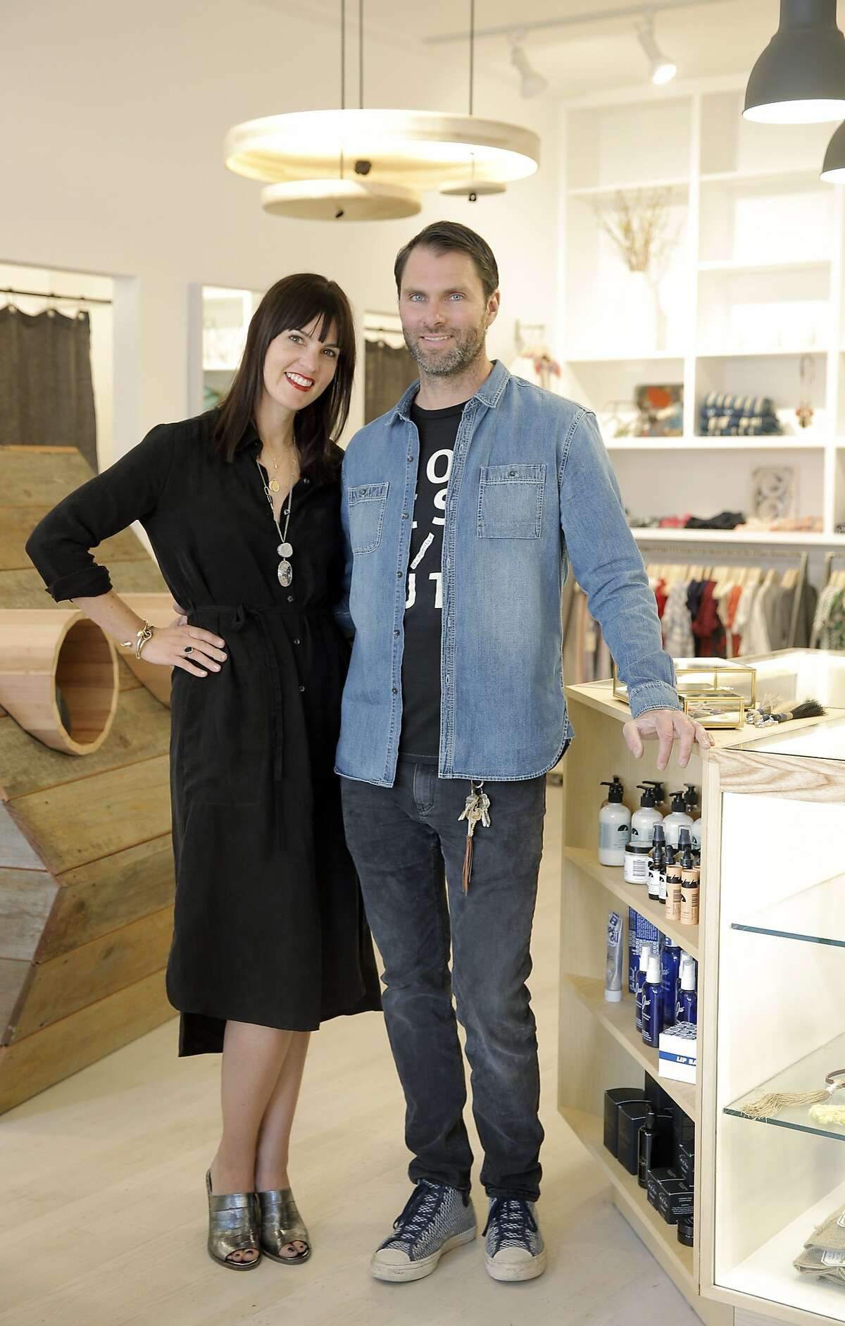 Lauren and Josh Podolls, the owners of Podolls on 24th Street in San Francisco, Calif., on the day they opened the store, Thursday, March 5, 2015.