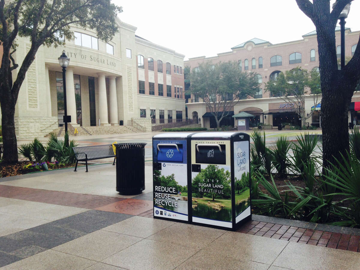 Sugar Land installed two solar-powered waste and recycling stations in the Sugar Land Town Square plaza.