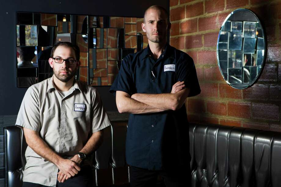 Benjy's chefs Spencer Serrette, right, and Geoff Hundt have put together a daily brunch menu for the restaurant with local foods. Photo: Marie D. De Jesus, Staff / © 2015 Houston Chronicle