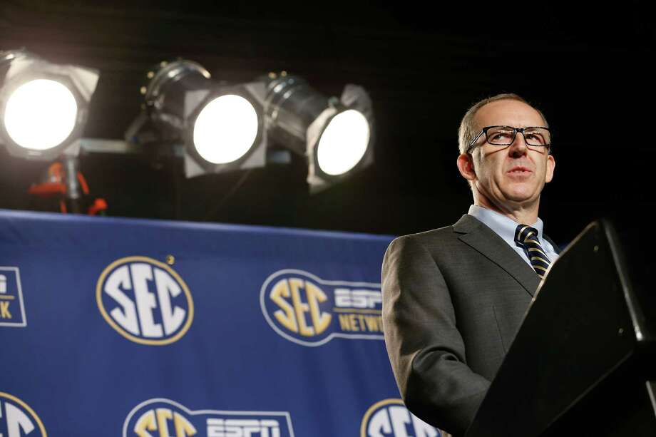 New SEC commissioner Greg Sankey speaks before a basketball game in the quarterfinal round of the Southeastern Conference tournament on March 13, 2015, in Nashville, Tenn. Sankey replaces the retiring Mike Slive as commissioner of the Southeastern Conference. Photo: Steve Helber /Associated Press / AP