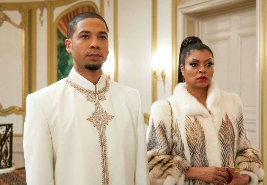 """EMPIRE: Jamal (Jussie Smollett, L) and Cookie (Taraji P. Henson, R) attend the all white party in the """"The Lyon's Roar"""" episode of EMPIRE airing Wednesday, Feb. 25 (9:01-10:00 PM ET/PT) on FOX. Â2015 Fox Broadcasting Co CR: Matt Dinnerstein/FOX"""