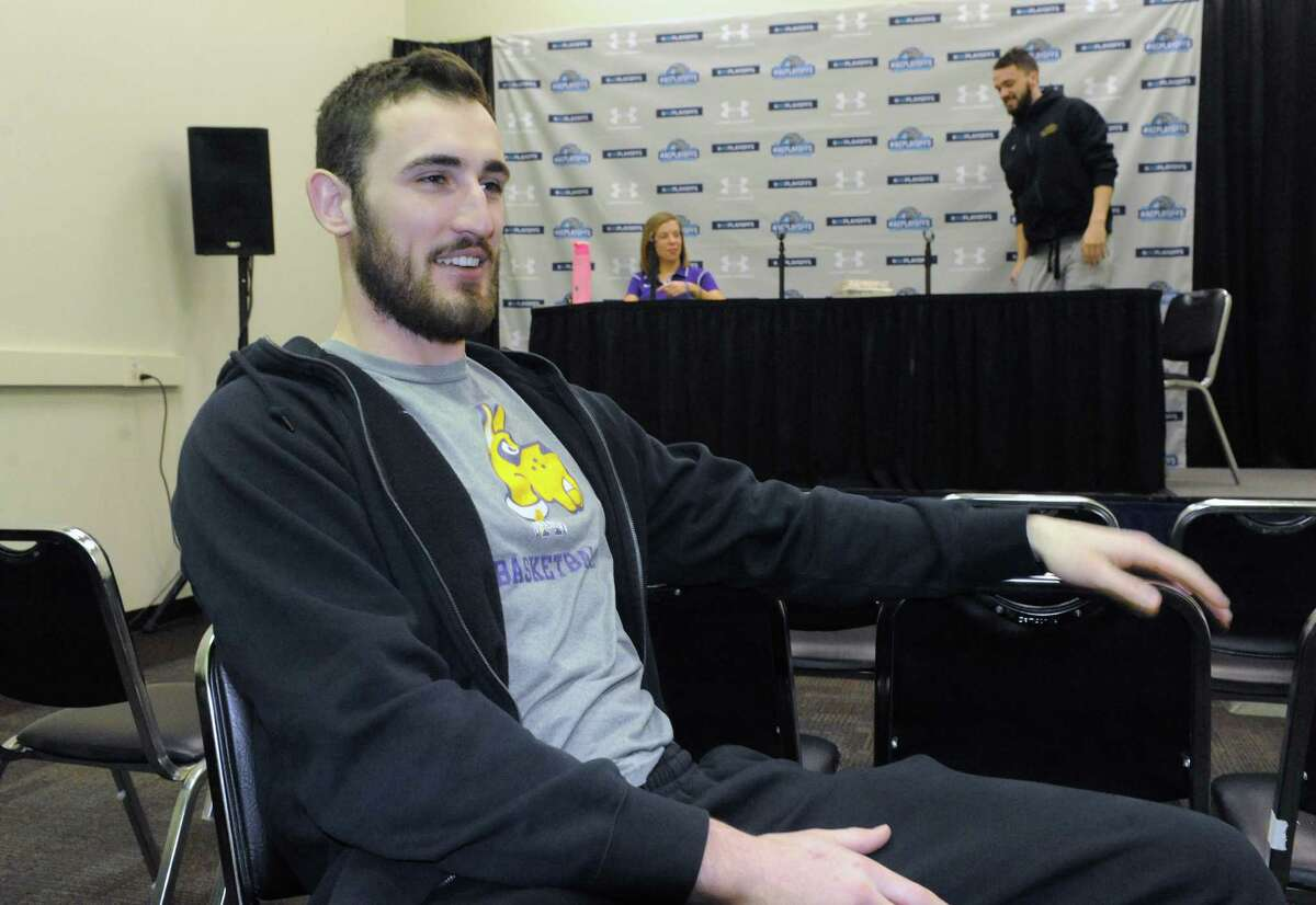 University at Albany basketball player Sam Rowley is interviewed Thursday, March 12, 2015, at UAlbany in Albany, N.Y. (Michael P. Farrell/Times Union)