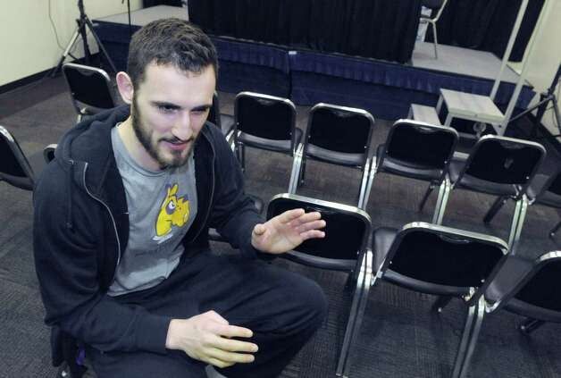 University at Albany basketball player Sam Rowley is interviewed Thursday, March 12, 2015, at UAlbany in Albany, N.Y.  (Michael P. Farrell/Times Union) Photo: Michael P. Farrell / 00030953A