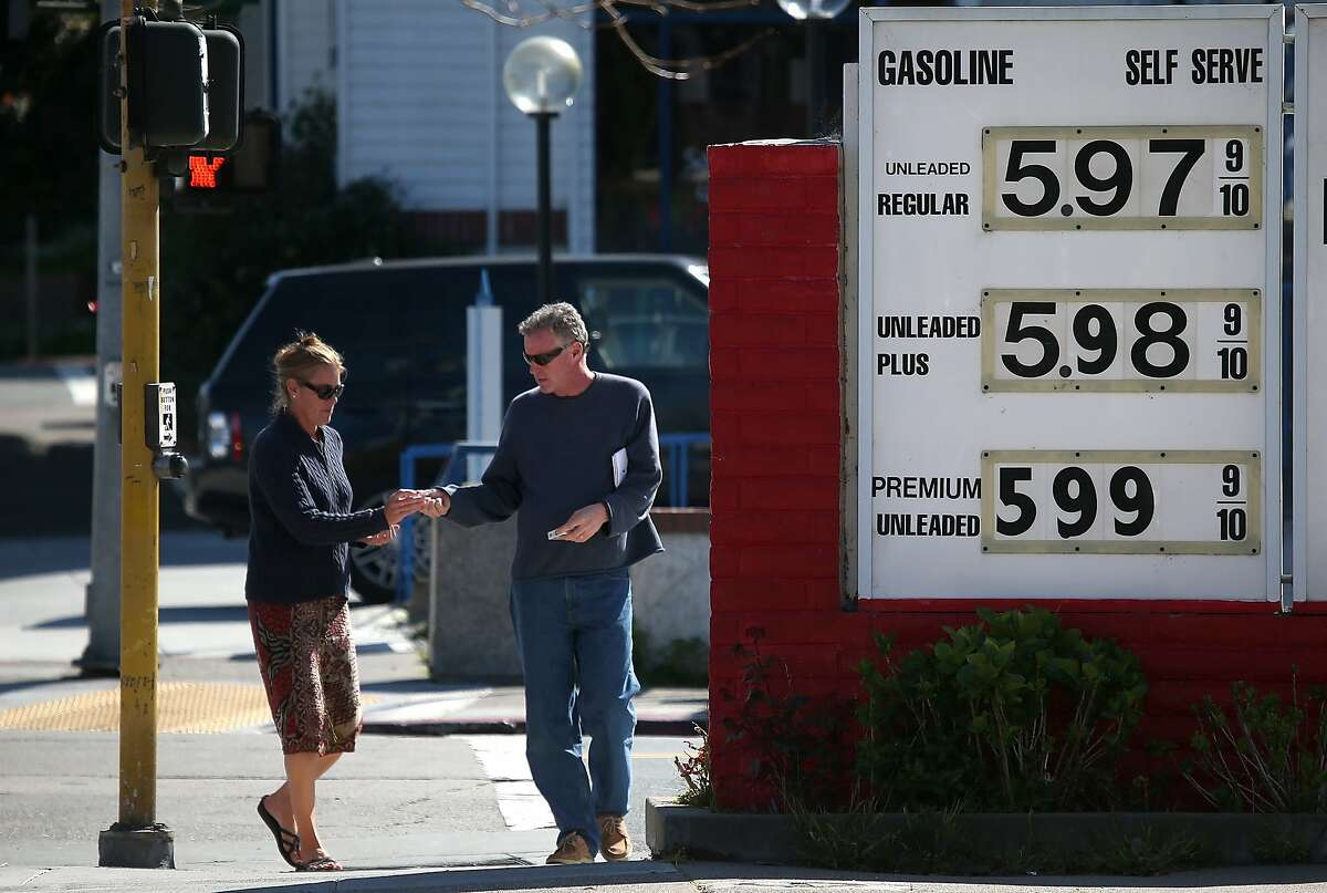 Gas prices nearing $6.00 per gallon are displayed at Bridgeway Gas on March 3, 2015 in Sausalito, California. U.S. gas prices have surged an average of 39 cents in the past 35 days as a result of the price of crude oil prices increases, scheduled seasonal refinery maintenance beginning and a labor dispute at a Tesoro refinery. It is predicted that the price of gas will continue to rise through March.