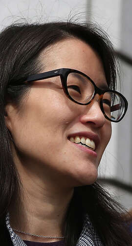 Ellen Pao (L) leaves the California Superior Court Civic Center Courthouse during a lunch break from her trial on March 10, 2015 in San Francisco, California. Reddit interim CEO Ellen Pao is suing her former employer, Silicon Valley venture capital firm Kleiner Perkins Caulfield and Byers, for $16 million alleging she was sexually harassed by male officials. (Photo by Justin Sullivan/Getty Images)