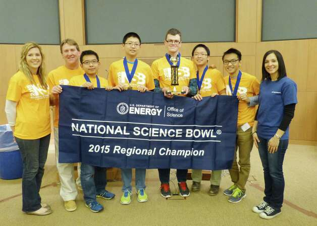 Bethlehem Central High School, first place Regional 2015 Science Bowl, from left, GE Presenter Liz McDonough, Coach Paul O?Reilly, Wenyuan (Roger) Hou, Kaibo Cui, Eric Wolfsberg, Bowen Chen, Ronald Shi, GE Presenter Adriana Larriera.