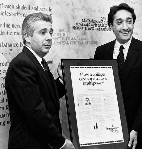 Dr. Lou Agnese and former San Antonio Mayor Henry Cisneros display the first UIW Brainpower Connection ad. Photo: Courtesy Photo / University Of The Incarnate Word