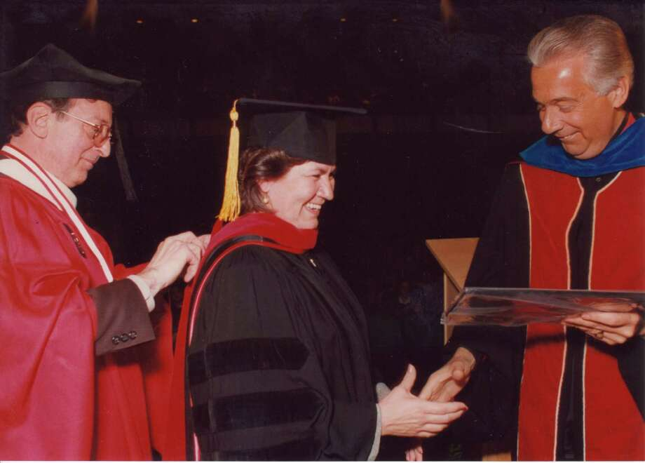 Sr. Yolanda Tarango, CCVI was awarded an honorary Doctor of Humane Letters. Tarango is a member of the UIW Board of Trustees and a co-founder of Visitation House. Visitation House is a ministry of the Sisters of Charity of the Incarnate Word. Photo: Courtesy University Of The Incarnate Word