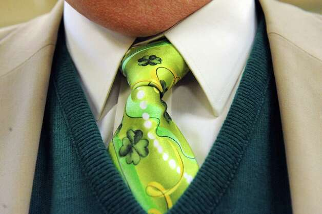 Jack Mulvey sports a stylish and green tie during the Green Tie Luncheon at the Capital District Irish America Association to kick off St. Patrick's Day festivities on Friday, March 13, 2015, in Albany, N.Y.  (Michael P. Farrell/Times Union) Photo: Michael P. Farrell / 00030898A