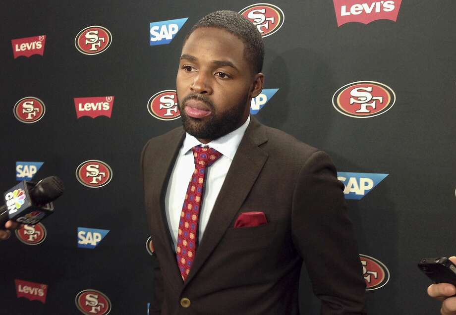 Wide receiver Torrey Smith speaks to the media about joining the San Francisco 49ers at the team's NFL football facility in Santa Clara on Wednesday, March 11, 2015. Smith spent his first four seasons with the Ravens, which prompted  questions about his thoughts on the unrest in Baltimore, where he still  lives in the offseason. Photo: Janie McCauley, Associated Press